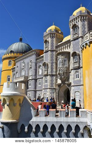 SINTRA, PORTUGAL - AUG 20: Pena Palace in Sintra, Portugal, as seen on Aug 20, 2016. The palace is a UNESCO World Heritage Site and one of the Seven Wonders of Portugal.