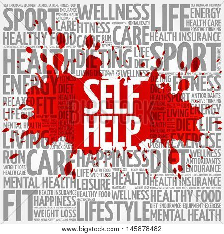Self Help word cloud health concept, presentation background