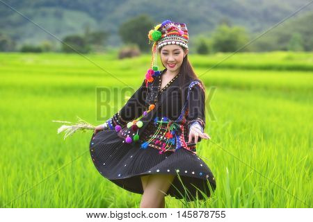 Girl indigenous tribes of Laos bright cute.