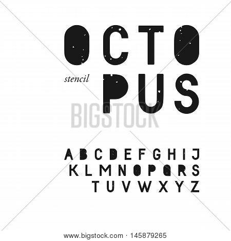 Grunge textured sans serif stencil font in uppercase. Stamp typeface