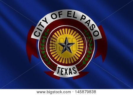 Flag of El Paso in Texas United States. 3D illustration