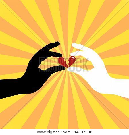 Silhouette of hands saving love