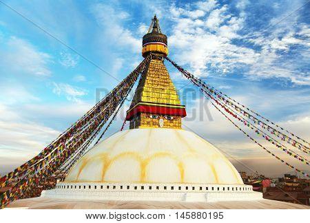Evening beautiful view of Bodhnath stupa - Kathmandu - Nepal