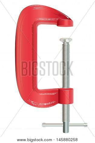 An illustration of a red G Clamp against a white background