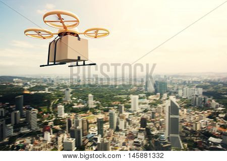 Photo Yellow Generic Design Remote Control Air Drone Flying Sky Empty Craft Box Under Urban Surface.Modern City Background.Post Fast Delivery.Horizontal, Left Side View.Film Effect.3D rendering