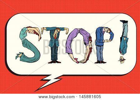 Stop the inscription of human figures, pop art retro comic book illustration