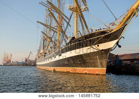 sailboat mooring old ship sail tall masts with sails
