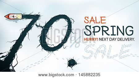 Spring Sale Banner 70% Off Hurry! Spring thaw view from above.