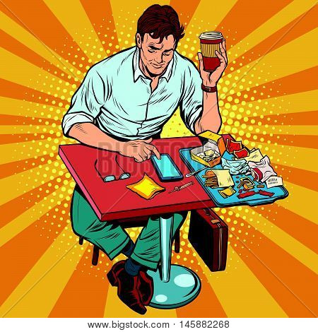 Pop art man eats lunch at a fast food restaurant, retro comic book illustration. Businessman drinks coffee and reads the messages on the smartphone