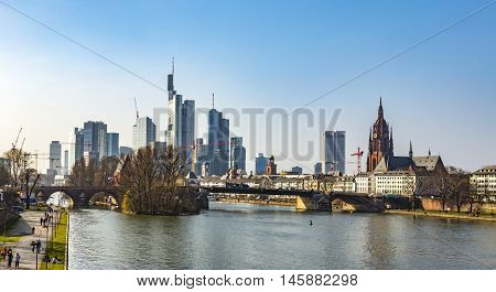 View Of The City With Floessserbruecke At Frankfurt