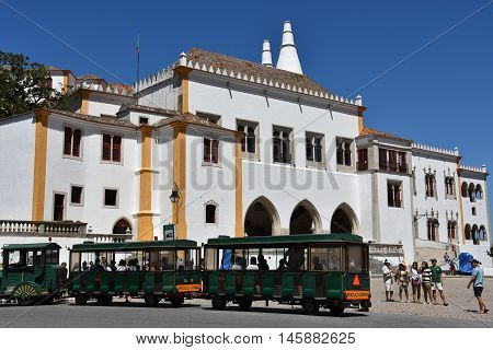 SINTRA, PORTUGAL - AUG 20: National Palace of Sintra in Portugal, as seen on Aug 20, 2016. It is a present-day historic house museum.