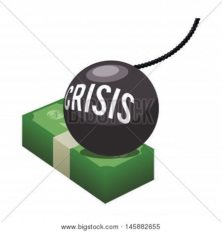 bills bomb and crisis icon. Money financial and economy theme. Isolated design. Vector illustration