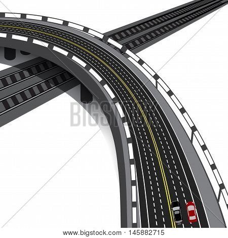 Car overpass crossing the railway. Cars. Vector illustration