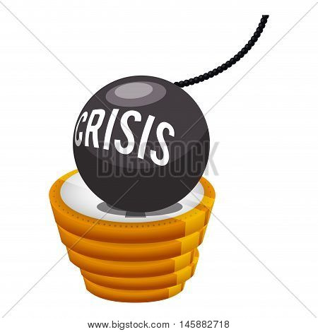 coins bomb and crisis icon. Money financial and economy theme. Isolated design. Vector illustration