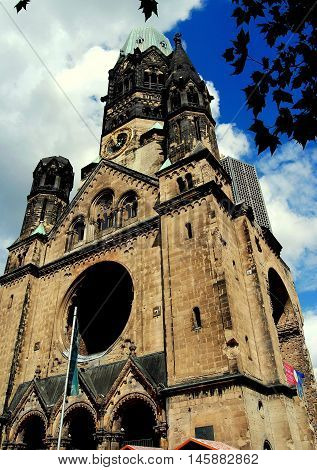 Berlin Germany - JUne 20 2010: Remains of the 1895 Kaiser Wilhelm Memorial Church much of which was destroyed in 1943 during Allied bombing raids
