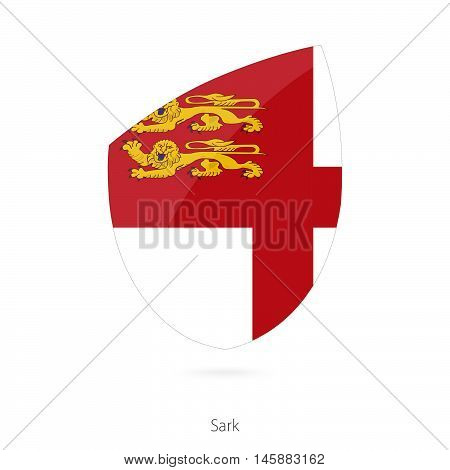 Flag of Sark in the style of Rugby icon. Vector Illustration.