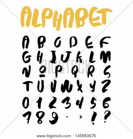 Handwritten trendy vector alphabet set. Playful calligraphic characters uppercase, numerals and punctuations signs. Black symbols shapes isolated on white background.