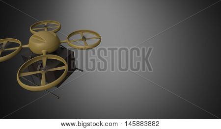Green Military Color Material Generic Design Remote Control Air Drone Flying Black Box Under Empty Surface.Blank Dark Background.Global Cargo Express Delivery.Wide, Motion Blur, top View.3D rendering