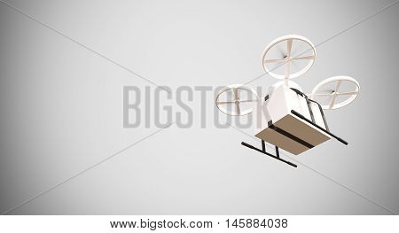 Ambulance Generic Design Remote Control Air Drone Flying White Box Under Empty Surface.Blank Light Background.Global Cargo Aid Supplies Express Delivery.Wide, Motion Blur effect.3D rendering