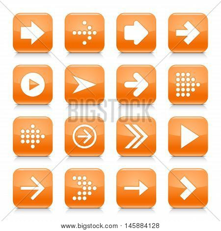16 arrow icon set 01. White sign on orange rounded square button with gray reflection black shadow on white background. Glossy style. Vector illustration web design element save in 8 eps