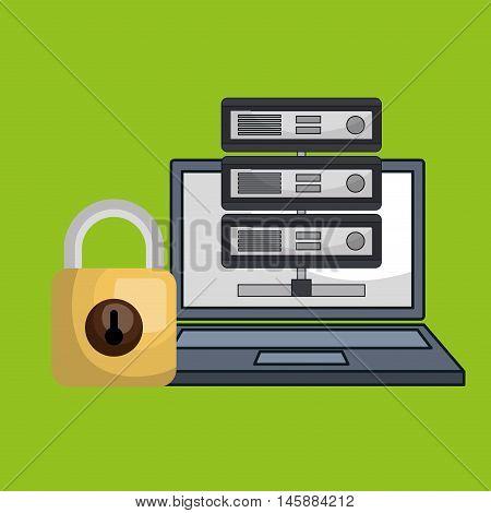 laptop padlock data base vector illustration eps10