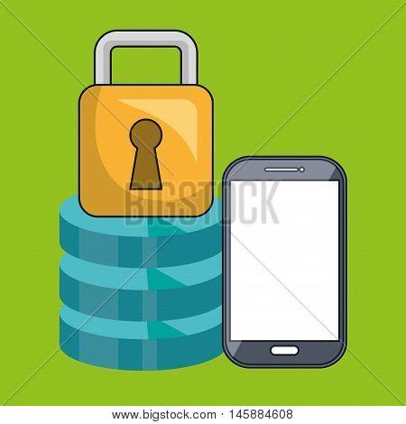 smartphone padlock data base vector illustration eps10