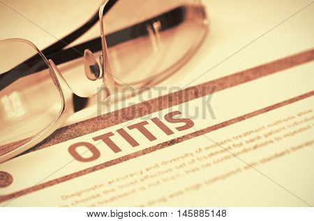 Otitis - Medical Concept on Red Background with Blurred Text and Composition of Spectacles. Otitis - Medicine Concept with Blurred Text and Glasses on Red Background. Selective Focus. 3D Rendering.