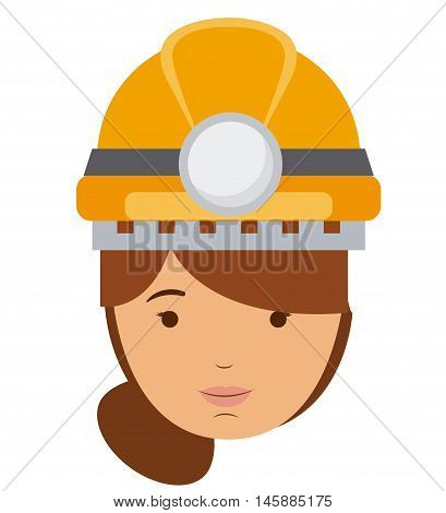 constructer woman and cartoon icon. profession worker and occupation theme. Isolated design. Vector illustration