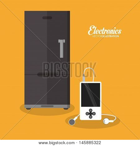 fridge and mp3 icon. electronic appliances and supplies for your home theme.Colorful design. Vector illustration
