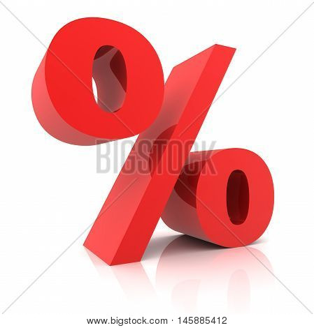 3d Percentage sign isolated on white  background