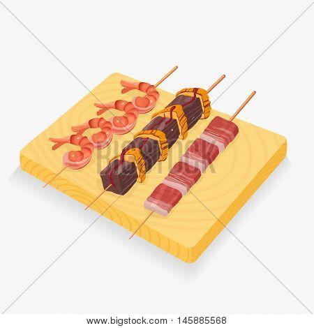 Asian snack skewers vector illustration eps 8 file format