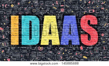 IDAAS - Identity as a Service - Concept. Modern Line Style Illustration. Multicolor IDAAS Drawn on Dark Brick Wall. Doodle Icons. Doodle Design Style of IDAAS Concept. IDAAS on Dark Brick Wall.