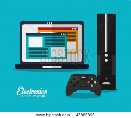 laptop and videogame icon. electronic appliances and supplies for your home theme.Colorful design. Vector illustration