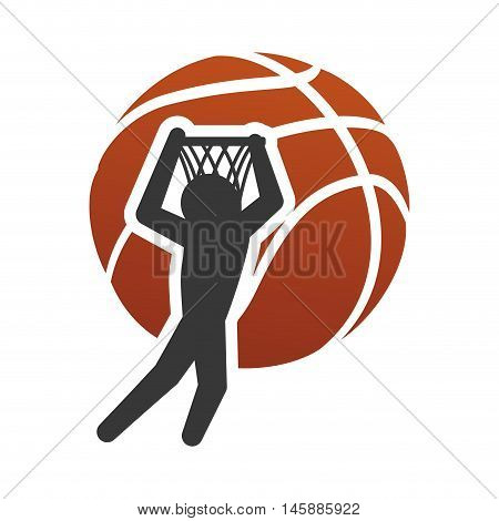 pictogram player basket and ball icon. Basketball sport and competition theme. Isolated design. Vector illustration