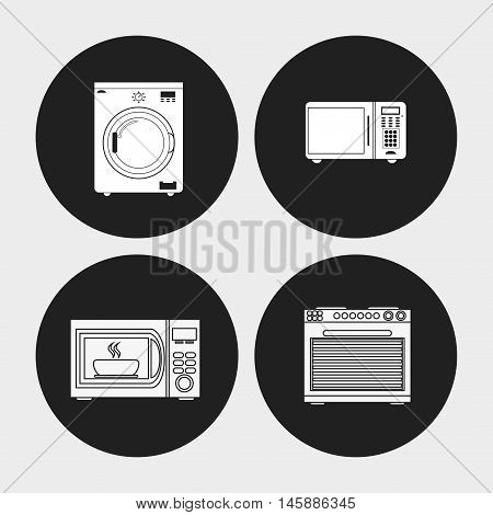 washer stove microwave and oven icon. electronic appliances and supplies for your home theme. Black and white design. Vector illustration