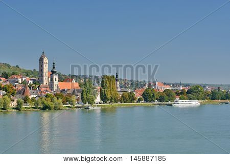 View over the Danube with the district Stein in the front and the city of Krems in the background