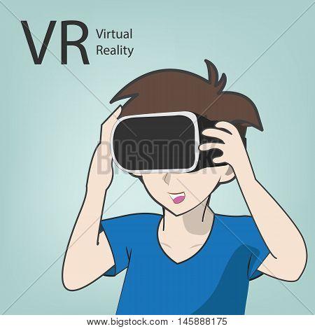 Vr Virtual Reality Simulator With Cartoon Character