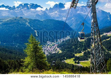 Cableway over the mountain of Madonna di Campiglio a town in the Alps of Trentino Italy