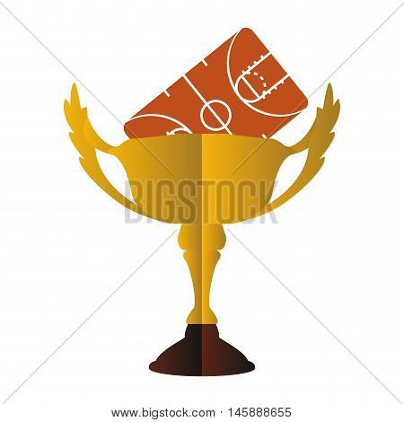 gold trophy cup and league icon. Basketball sport and competition theme. Isolated design. Vector illustration
