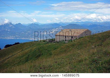 Cabin on Monte Baldo in front of Lake Garda, Italy