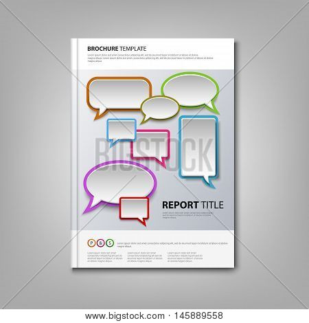 Brochures book or flyer with colorful abstract speak bubbles vector eps 10