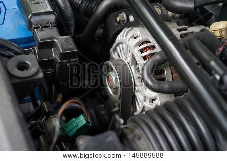 inside the hood of a Rotary engine japanese sport car