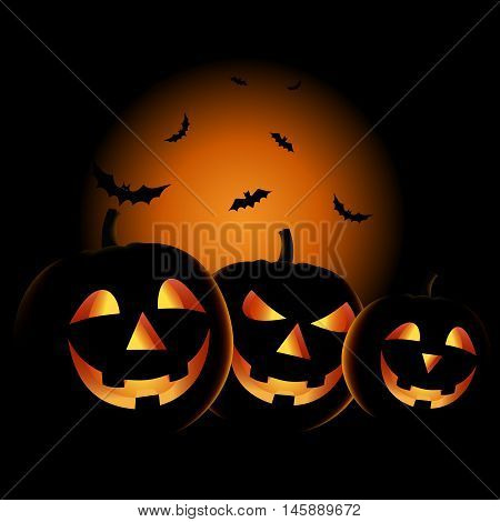 Halloween night with grinning pumpkins background vector eps 10