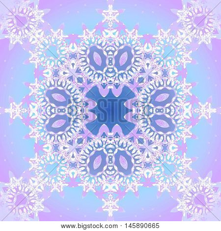 Abstract geometric seamless retro background. Ornate laces ornament with ellipses in violet and purple shades with white elements and light blue.
