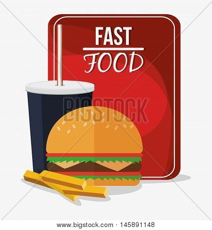 hamburger fries and coke icon. fast food menu american and restaurant theme. Colorful design. Vector illustration