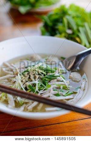 Pho is the noodle in traditional Laos style in Luang prabang, Laos.