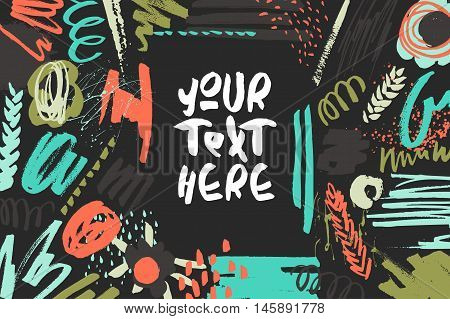 Textured decorative presentation card. Handdrawn textures, colorful shapes, lines and splashes on black. Editable template - non cropped elements. Trendy design for poster, invitation, decorations