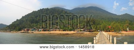 Tropical Beach With Jungle Mountains, Tioman Islands, Malaysia, Panorama