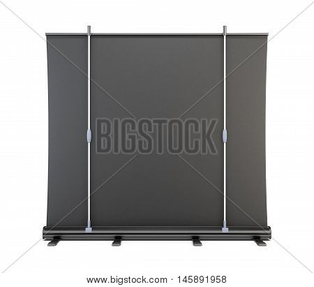 Rear View Of A Portable Screen For Presentations. 3D Rendering.