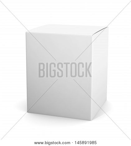 Template White Cardboard Package Box For Cosmetic Products Isolated On White Background.  Mock Up Fo